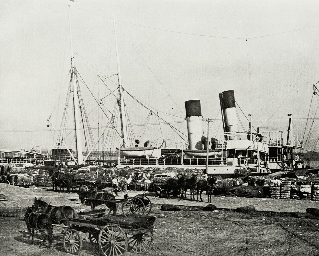 Antique photograph of Cotton steamer in New Orleans